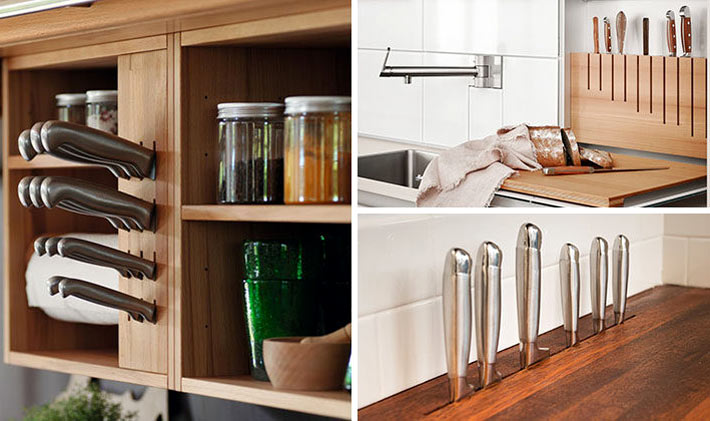 Различные идеи как удобно хранить ножи на кухне фото