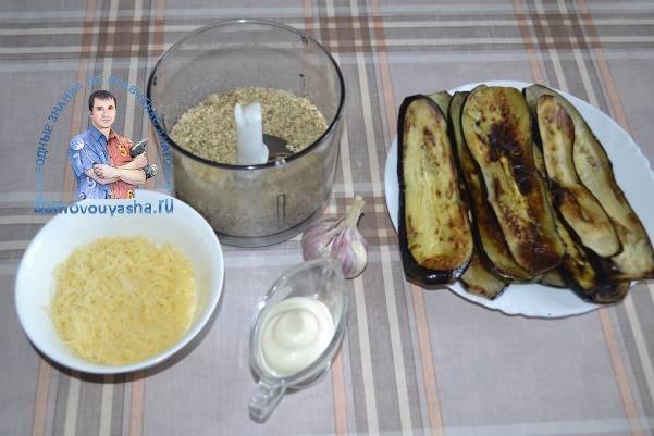 Рулетики из баклажанов с грецкими орехами и сыром