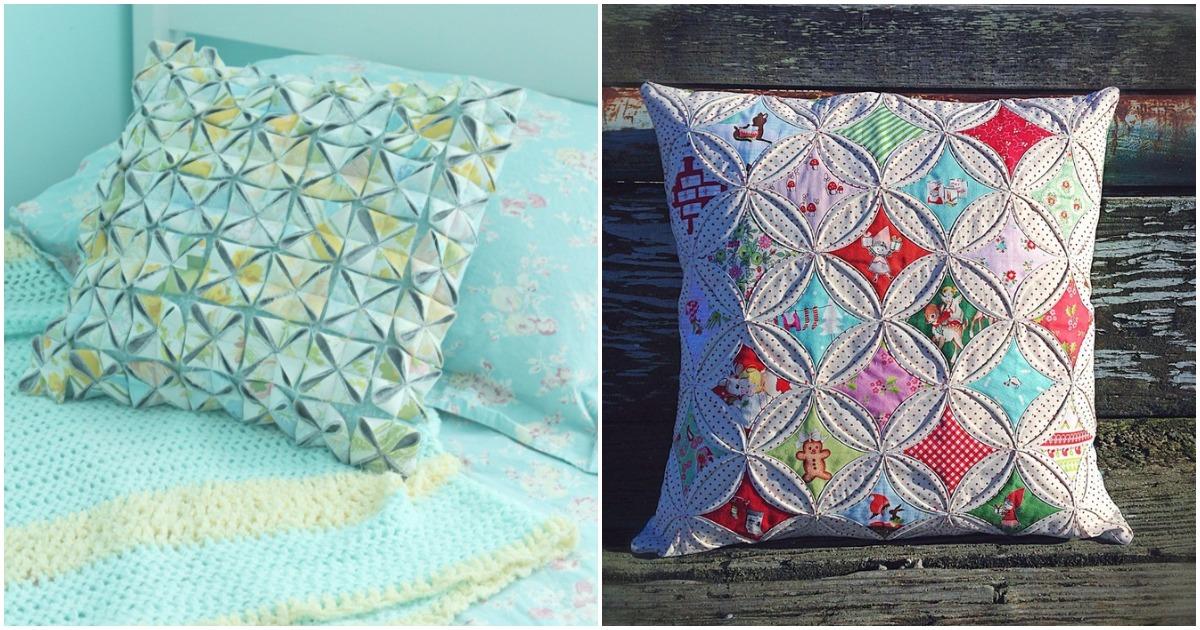 Необычные и очень красивые подушки в технике оригами. Мастер класс.