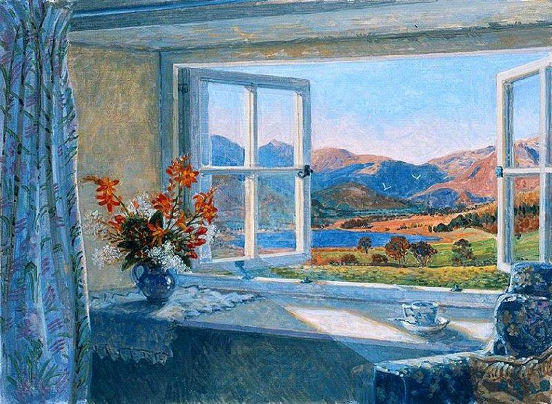 картина вид из окна в сад любители