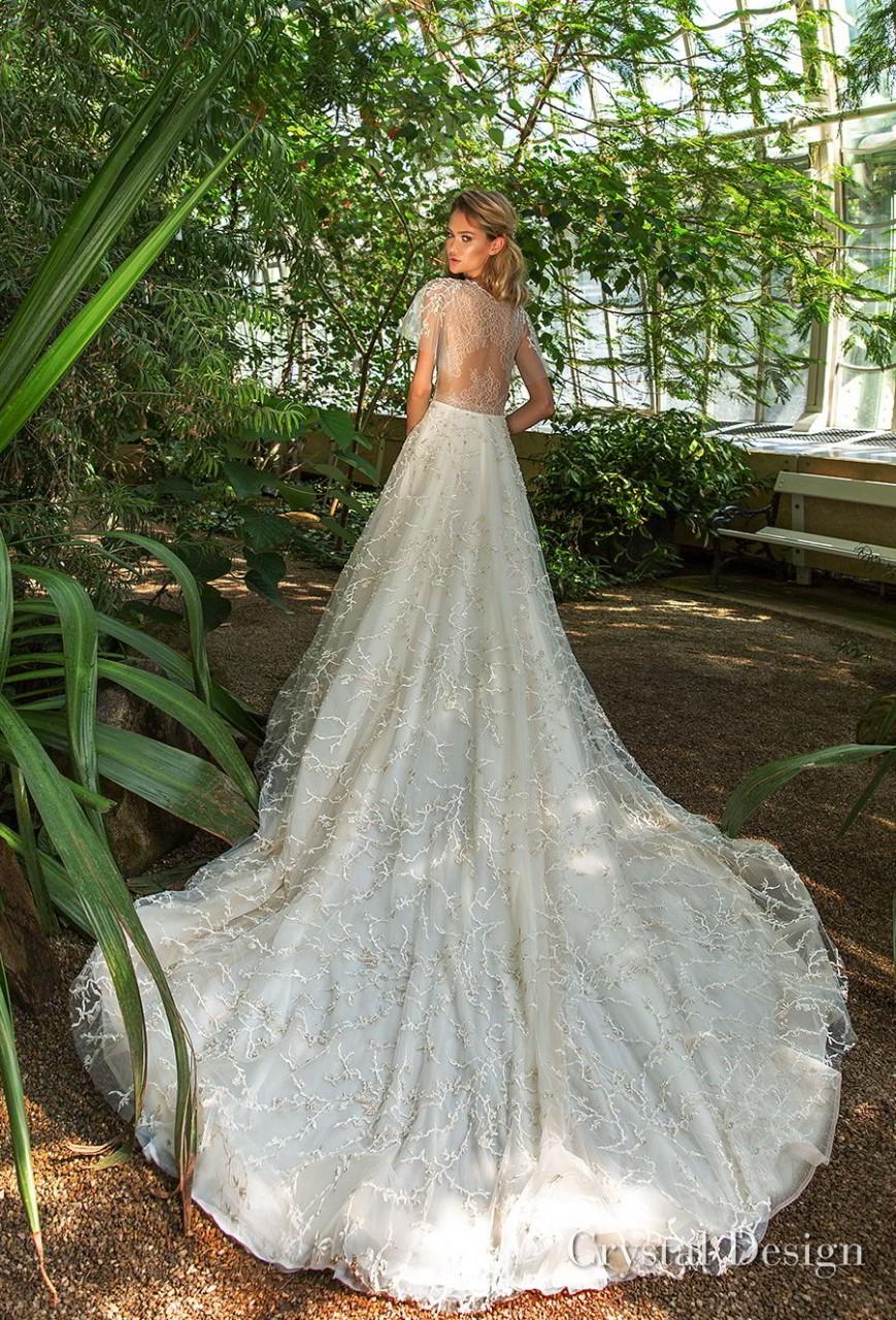 crystal design 2018 short handkerchief sleeves jewel neck full embellishment romantic bohemian a line wedding dress sheer lace back chapel train (tammy) bv