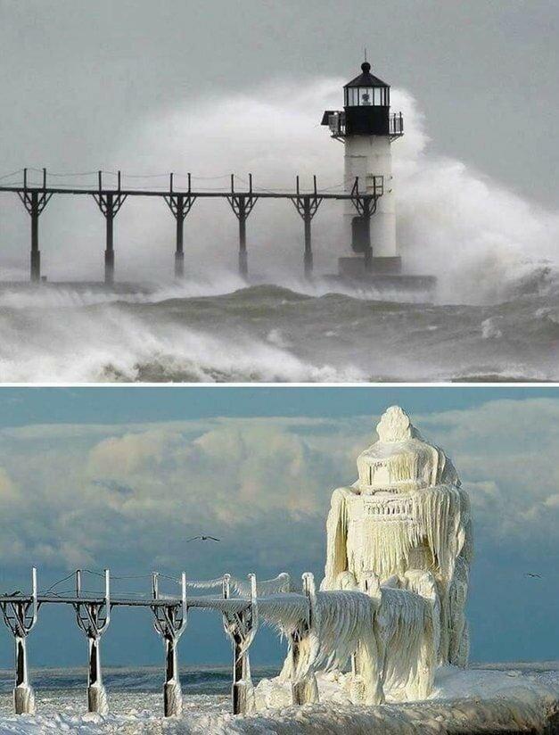 17.  «Маяк в Мичигане до и после ледяной бури» в мире, вещи, кадр, красота, подборка, удивительно, фото