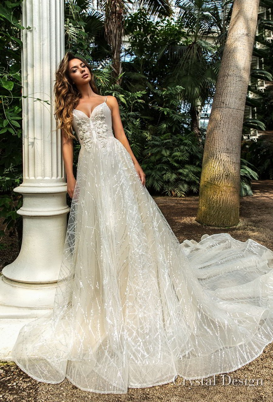 crystal design 2018 spaghetti strap sweetheart neckline full embellishment romantic a line wedding dress chapel train (pandora) mv