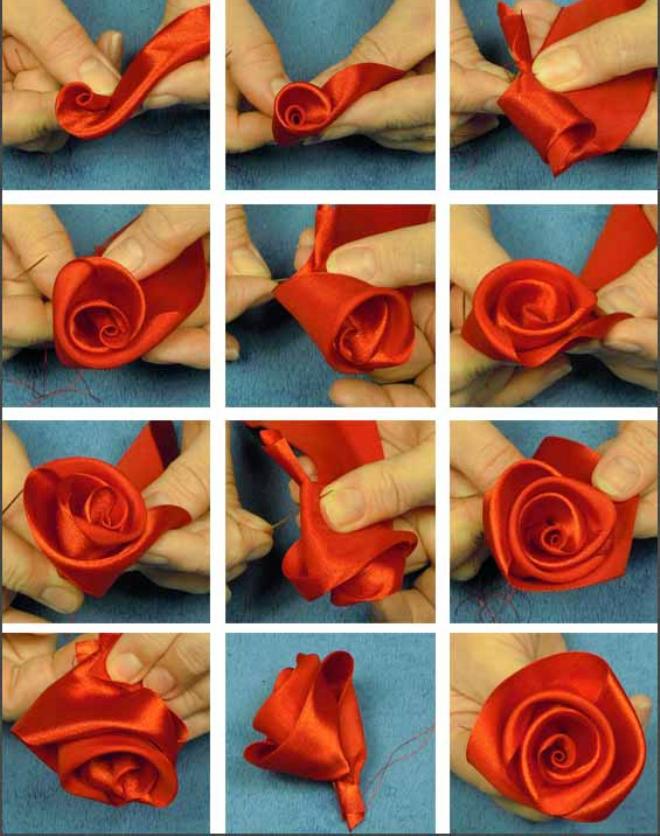 как сделать розочку из ткани пошаговое фото того чтобы такой