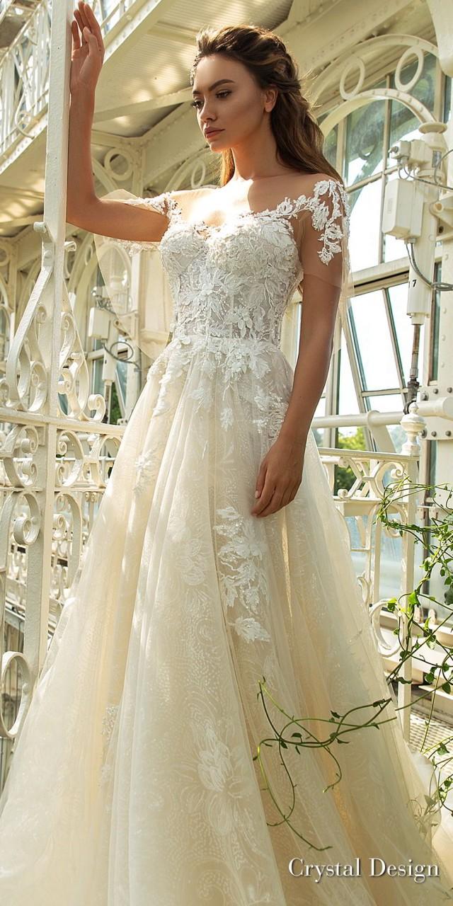 crystal design 2018 short handkerchief sleeves sweetheart neckline heavily embellished bodice romantic a line wedding dress scoop back chapel train (diem) zv