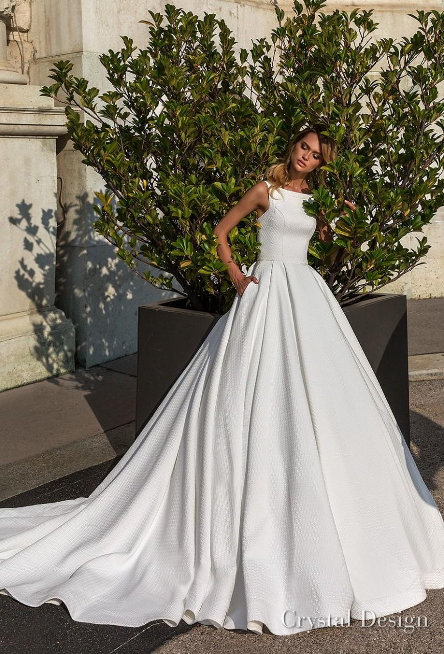 crystal design 2018 sleeveless bateau neck simple romantic a line wedding dress with pockets open strap back chapel train (nicole) mv