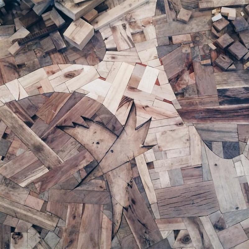 Как из различных кусочков древесины сотворить шедевр на вашем полу искусство, креатив, необычные проекты