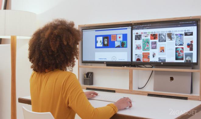 Компьютерный стол DropTop превращается в настенную картину