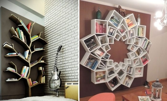 Идеи оформления книжных полок