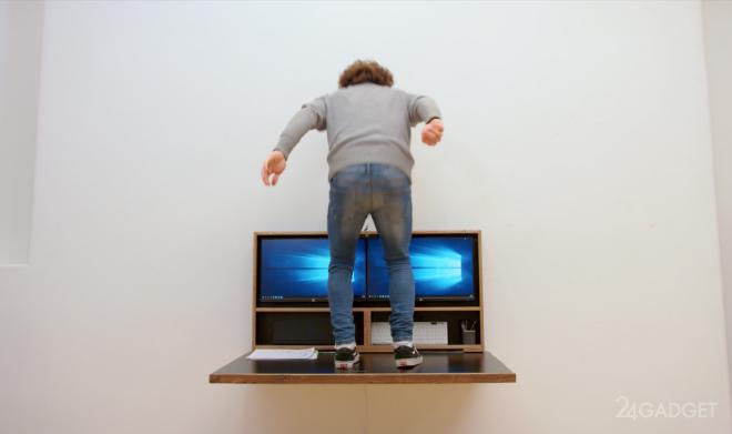 Компьютерный стол DropTop превращается в настенную картину DropTop, состоянии, каждый, специальных, получает, стола, пользователь, корпуса, короб, поставляется, крепления, дюймовых, короба, Внутри, навыков, FullHD, требует, Монтаж, Коронавирус, стального