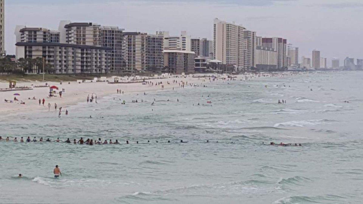 Чтобы спасти семью отдыхающие выстроились в цепочку в океане
