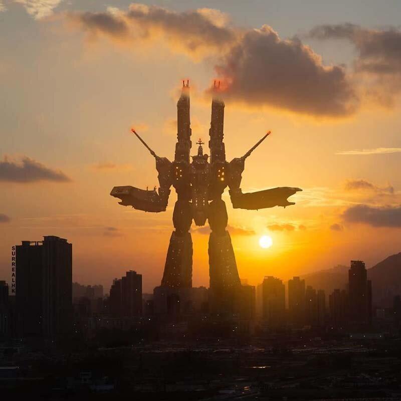 17. Рекультивация земель? Давайте построим космический корабль и будем жить в космосе, как Макросс («Роботек») Томми Фанг, гонконг, забавно, талант, фантазия, фото, фотошоп, художник