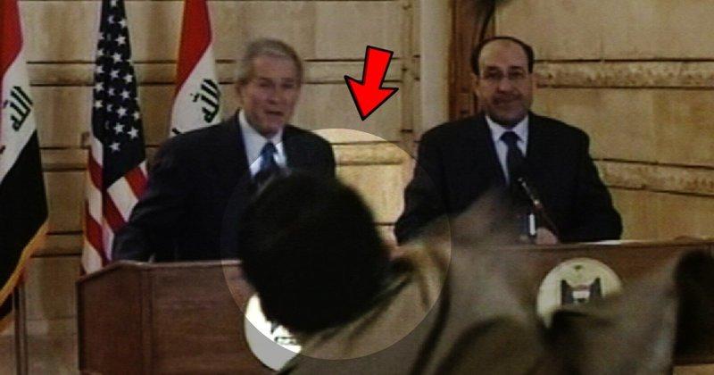 Помните араба, который запустил башмаком в Буша — младшего? Так что же с ним стало? Багдад, Буш-младший, Мунтазар аз-Зейди, ботинкометание, война в Ираке, журналист VS президент, конференция, президент