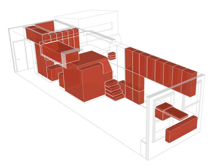 Выделенная красным цветом мебель демонстрирует заключительный этап работы команды дизайнеров.