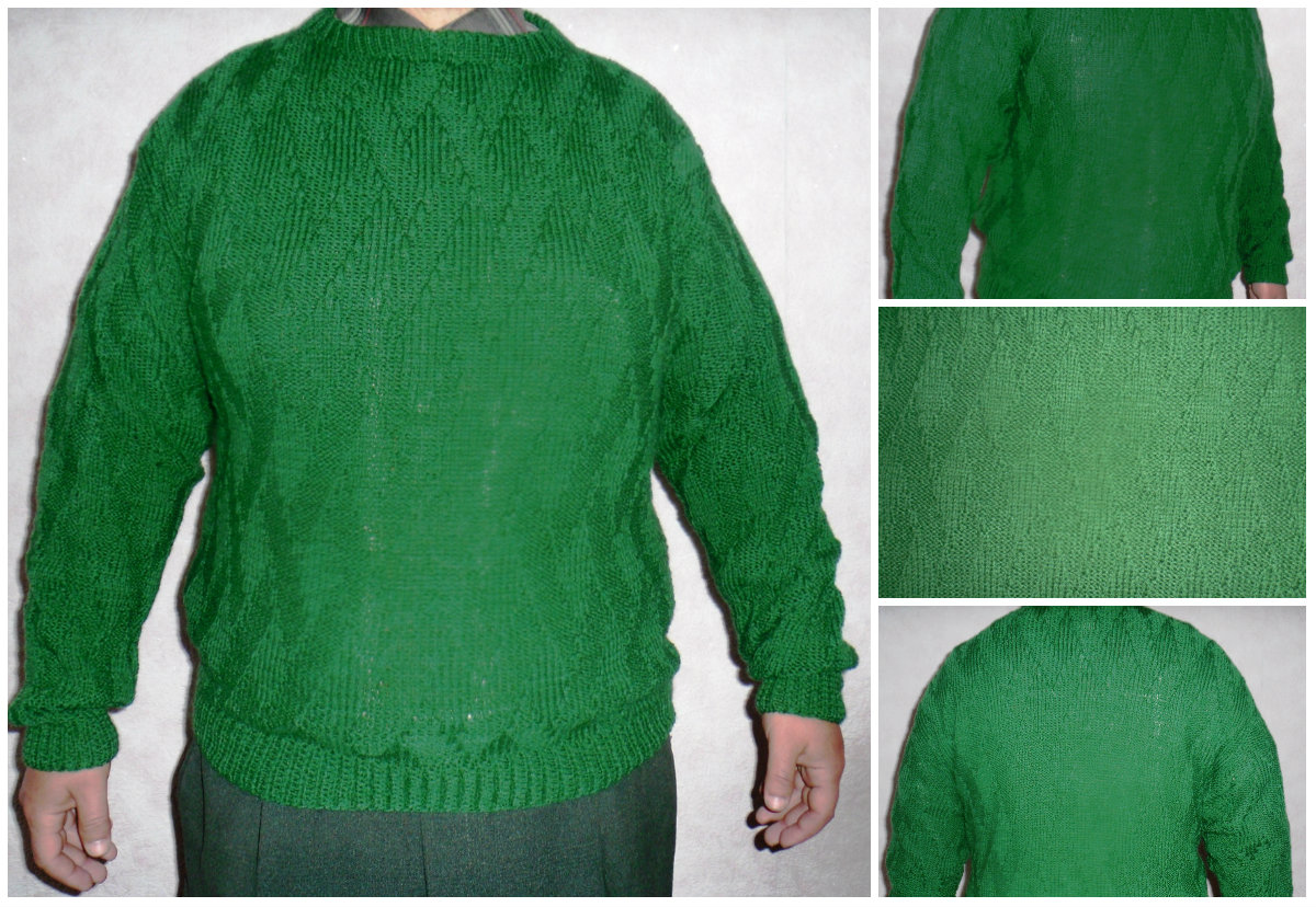 Вязание мужского свитера несложным узором