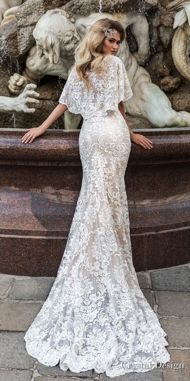 crystal design 2018 half handkerchief sleeves v neck full embellishment elegant fit and flare wedding dress covered lace back medium train (indira) bv