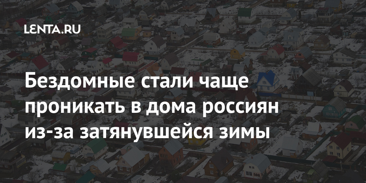 Бездомные стали чаще проникать в дома россиян из-за затянувшейся зимы Дом