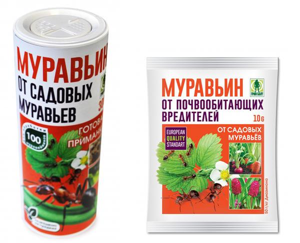 Муравьин действует быстро и эффективно. Слева в тубе (300 г), справа в пакетике (50 г)