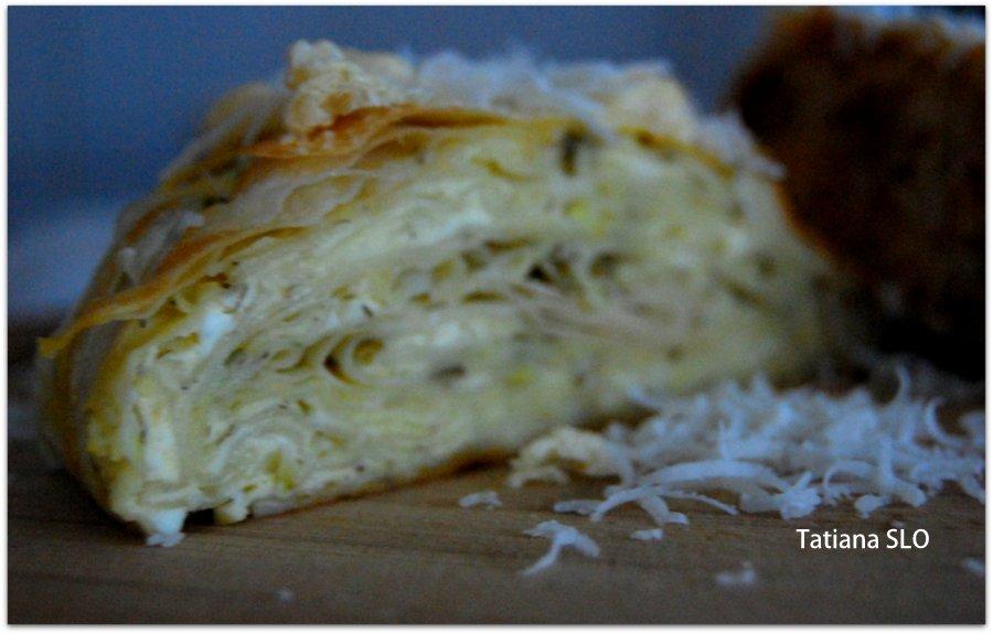 Вертута с сыром и зеленью.