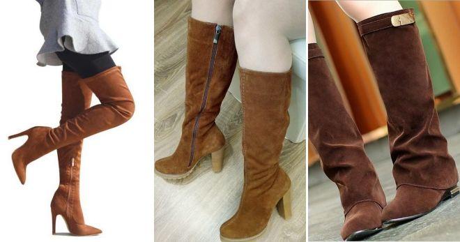 С чем носить кожаные коричневые сапоги замшевые