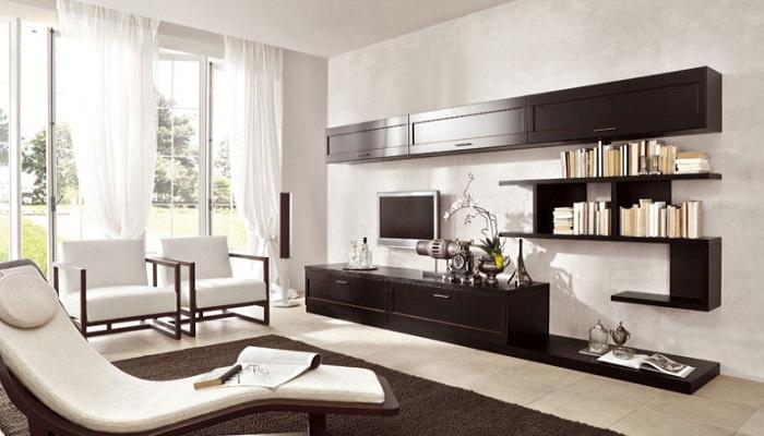 Современный интерьер гостиной в минималистическом стиле.