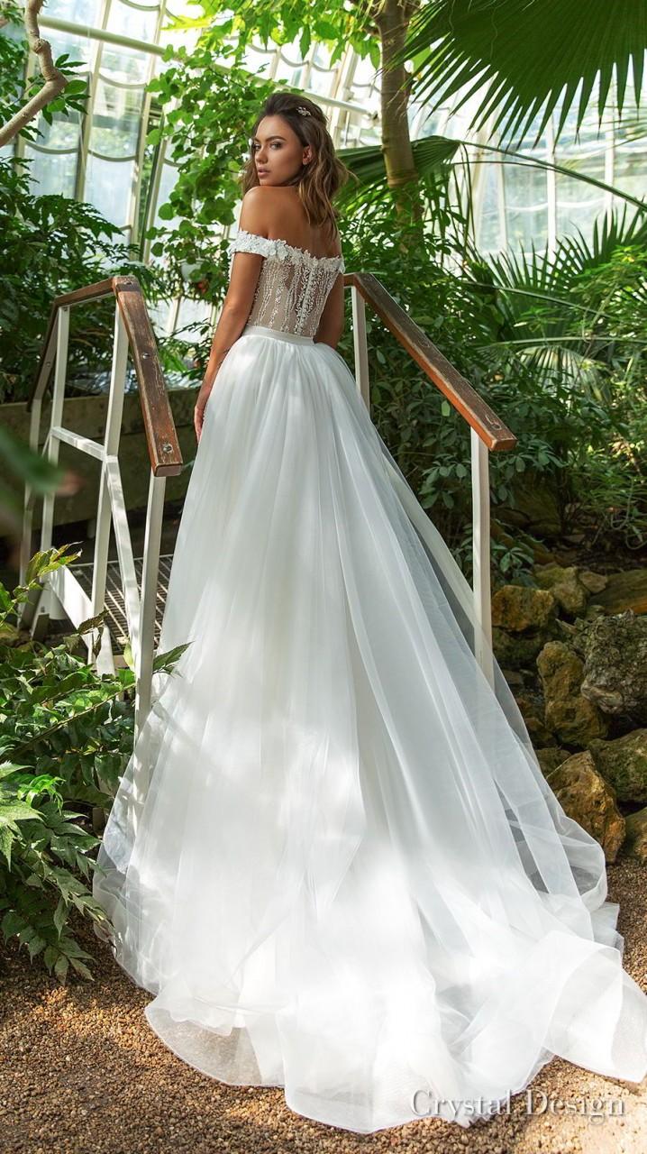 crystal design 2018 off the shoulder sweetheart neckline full embellishment elegant romantic fit and flare wedding dress a line overskirt chapel train (claudia) bv