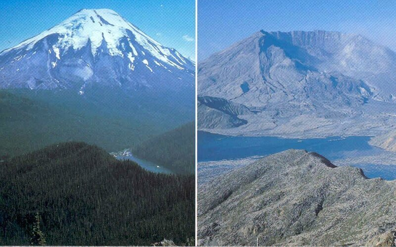 7. «Гора Сент-Хеленс до и после извержения в 1980-м году» в мире, вещи, кадр, красота, подборка, удивительно, фото