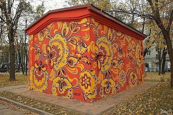 Художественная роспись трансформаторных подстанций под хохлому в городе Минске.