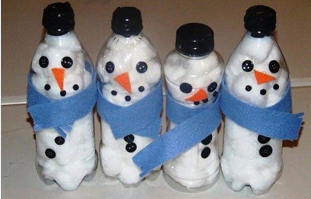 Новогодние поделки из пластиковых бутылок. Можно сделать вместе с детьми.