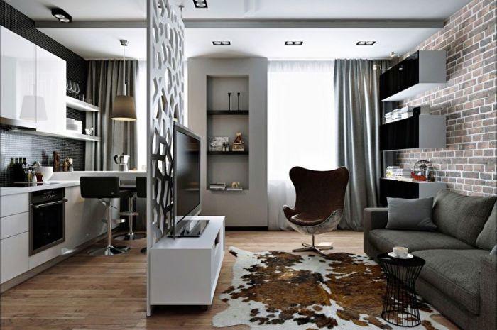 Квартира-студия в стиле лофт.