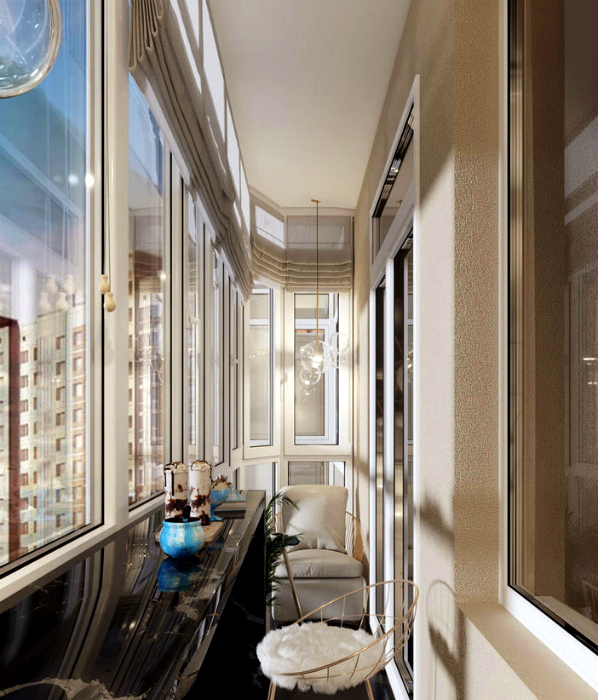 Смесь фактур в интерьере одного балкона.   Фото: Remoskop.ru.