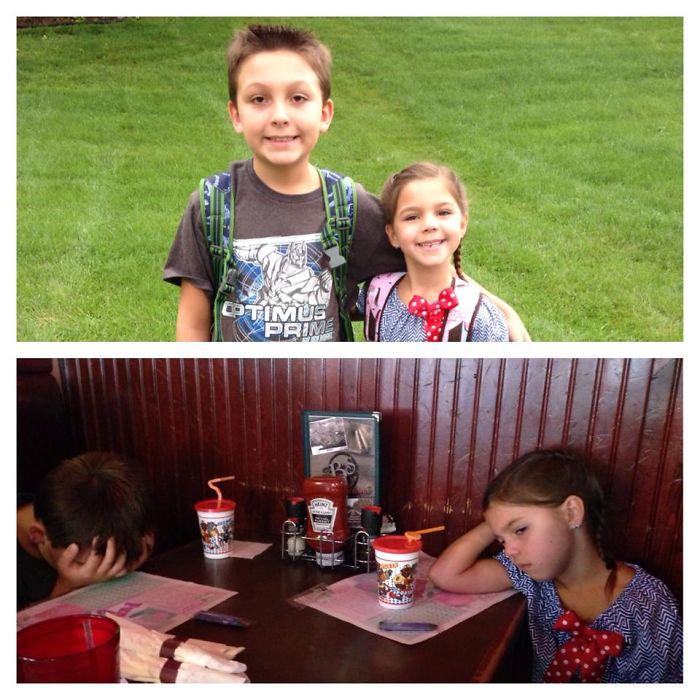 Веселые фото детей до и после их первого дня в школе