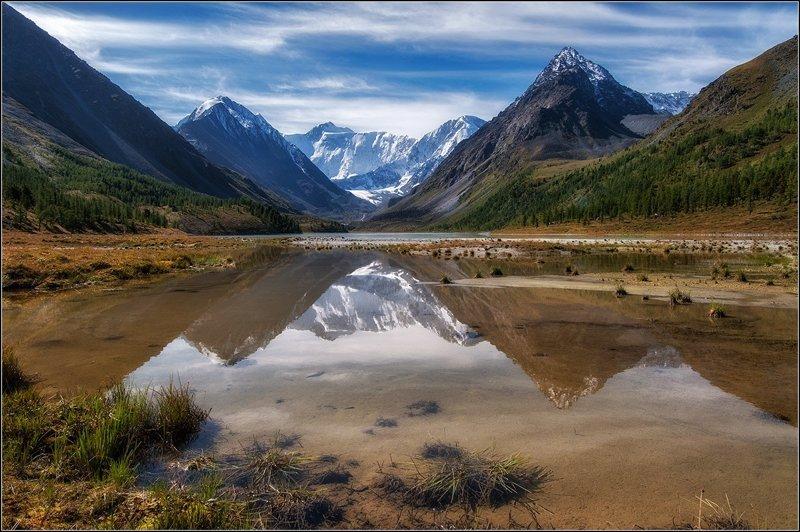 Озеро Аккемское, гора Белуха. алтай, озёра, путешествия, фото