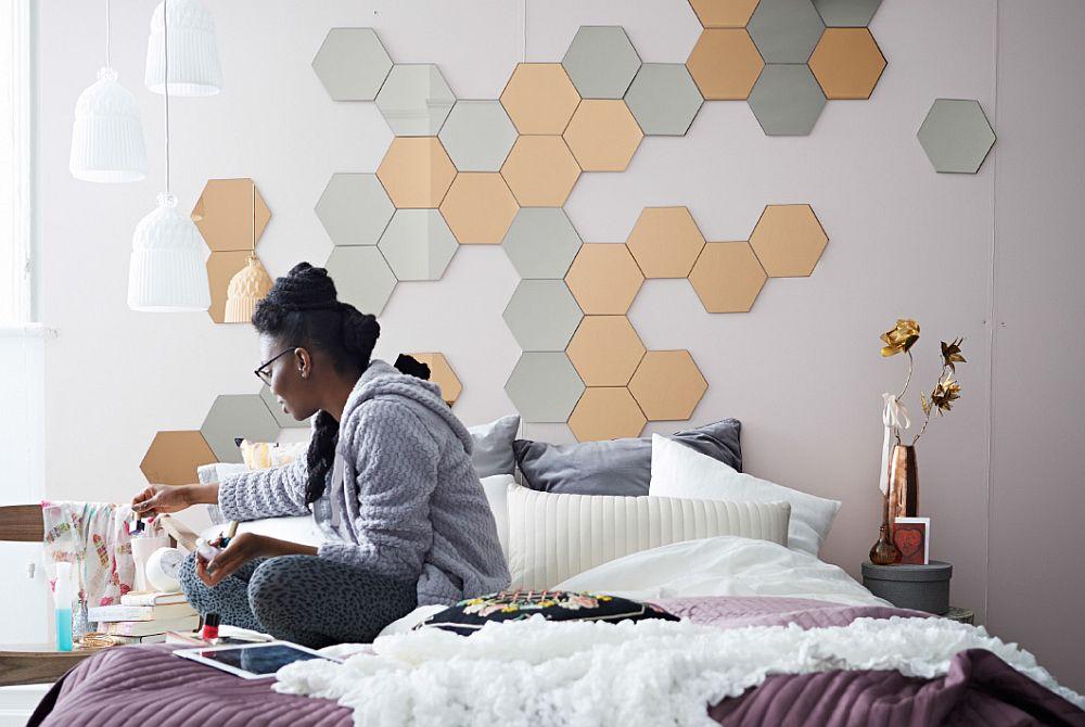 Дизайнерское оформление стены в интерьере спальни