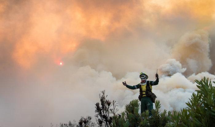 Борьба людей со свирепствующими лесными пожарами в Южной Африке. Автор фотографии: Джастин Салливан.