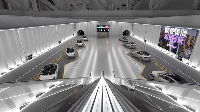 Илон Маск показал как будет выглядеть туннель для автомобилей Tesla будущее,гаджеты,Илон Маск,навигатор,наука,приборы,техника,технологии,электроника