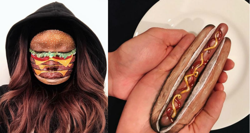 «Я тебе сейчас лицо обглодаю»: канадская визажистка рисует на женских лицах бургеры, роллы и пиццу