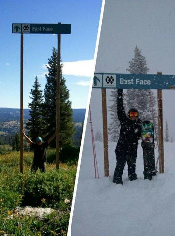 2. «Знак на лыжной трассе летом и зимой» в мире, вещи, кадр, красота, подборка, удивительно, фото