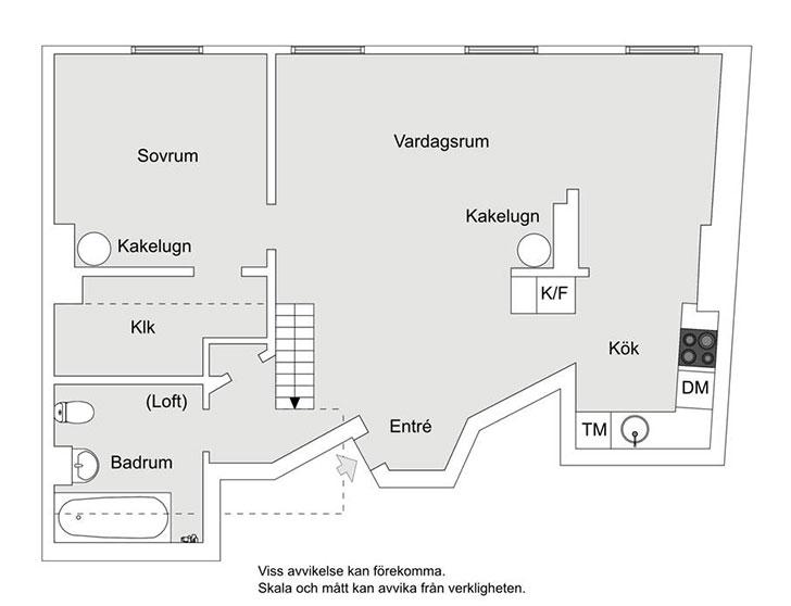 Белый лофт с голубым полом в Стокгольме (70 кв. м)