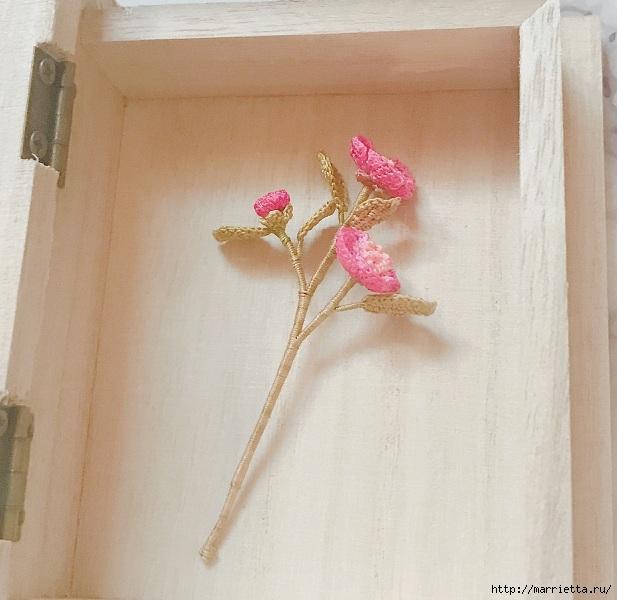 Веточка цветущего шиповника крючком