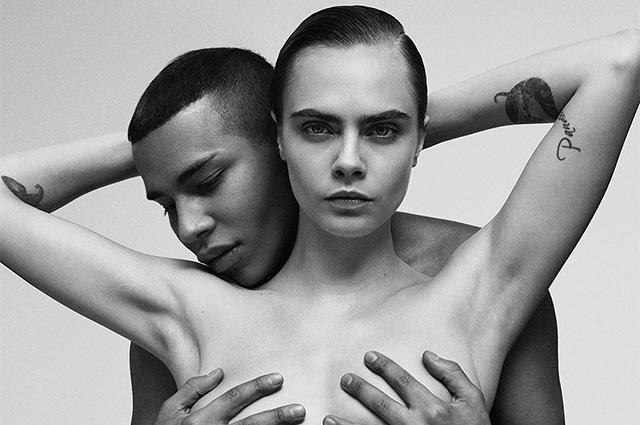 Кара Делевинь и Оливье Рустен повторили легендарный снимок c Джанет Джексон