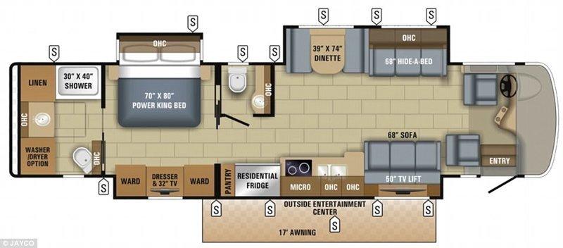 План помещения, справа налево: кабина водителя, зона отдыха, кухня, туалет, спальня, душ, стиральная машина и сушилка Роскошный дом, автодом, вот это да!, дом на колесах, дом на колёсах, кемпер, мобильный дом, ничего себе