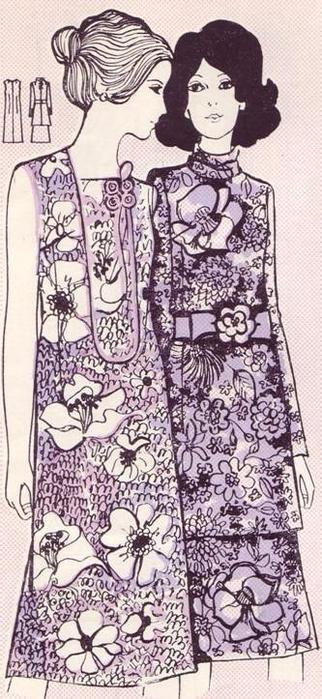 Ретро - платье цельнокроеное из шелковой ткани