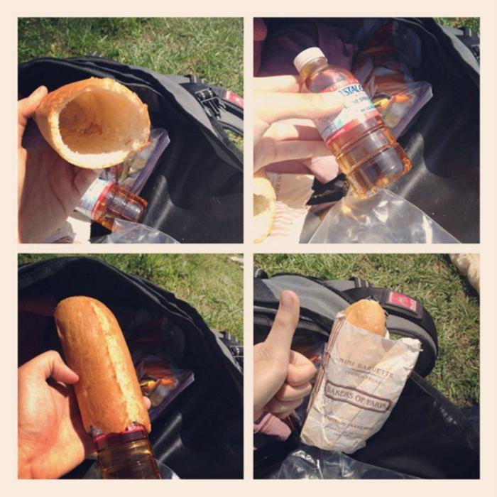 Хот-дог для дорогого друга из булки и маленькой бутылки.