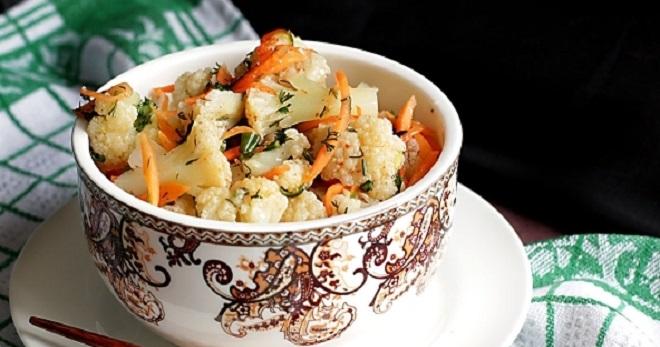 Цветная капуста по-корейски - пикантная и очень вкусная закуска