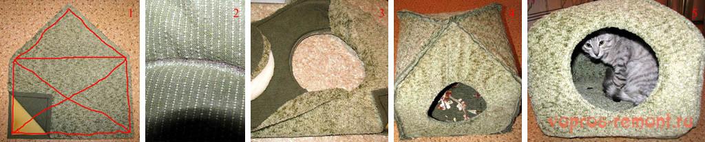 Шитье домика для кошки из поролона и ткани