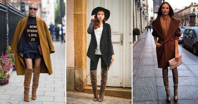 С чем носить коричневые сапоги ботфорты