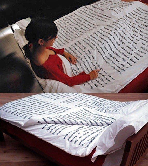 6. Пододеяльник с отрывком из любимой книги книги, книголюбы, крутые вещи, способы хранения, фото, чтение