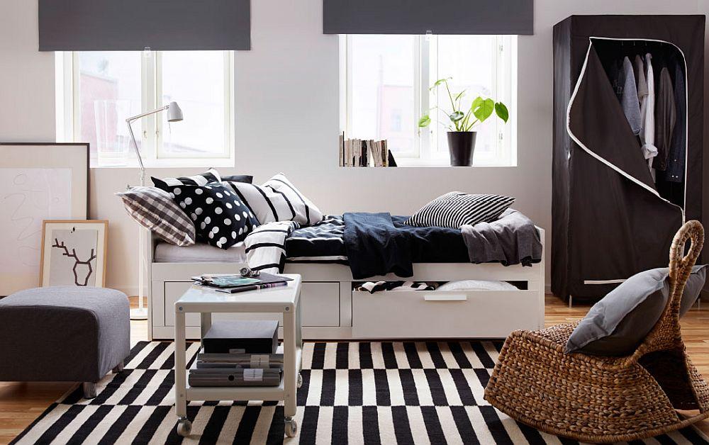 Дизайнерский интерьер спальни в черно-белом цвете