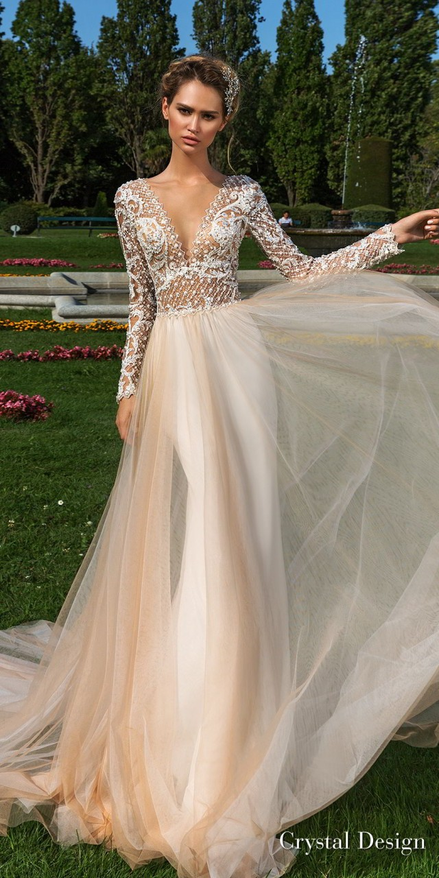 crystal design 2018 long sleeves v neck heavily embellished bodice tulle skirt romantic champagne color soft a line wedding dress sheer button back chapel train (hadlee) mv